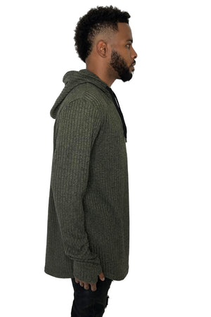 Men Light Hoodie Rib Knit Khaki by Sik Silk 2018 Style - Brit Boss