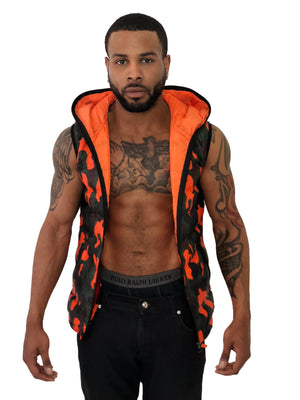 Men Orange & Green Camo Vest with Hoodie by Brit Boss - Brit Boss