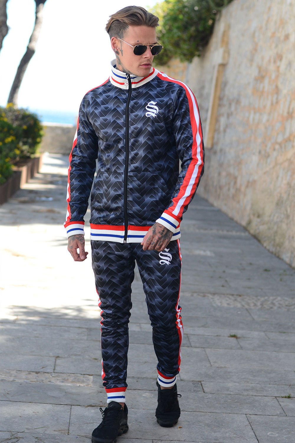 Men Tracksuit Retro Blue w/ Red by Sinners Attire - Brit Boss