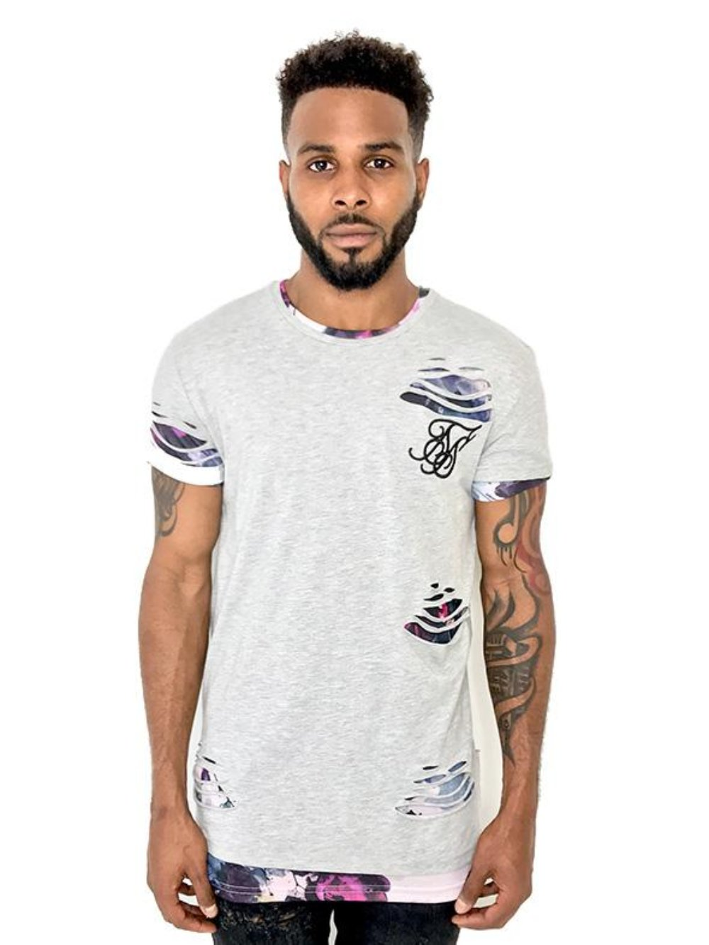 Men Gray Double Layer Ripped Tee by Sik Silk - Brit Boss