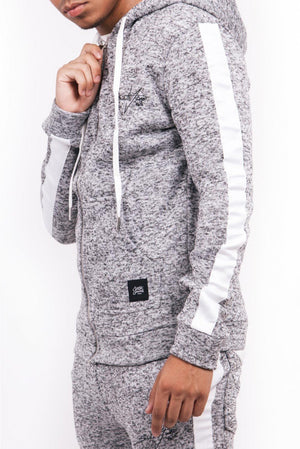 GRAY HEATHER KNIT ZIP HOODIE BY SIXTH JUNE - Brit Boss