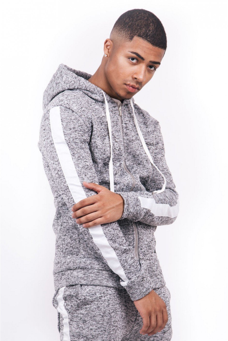 GRAY HEATHER KNIT ZIP HOODIE BY SIXTH JUNE