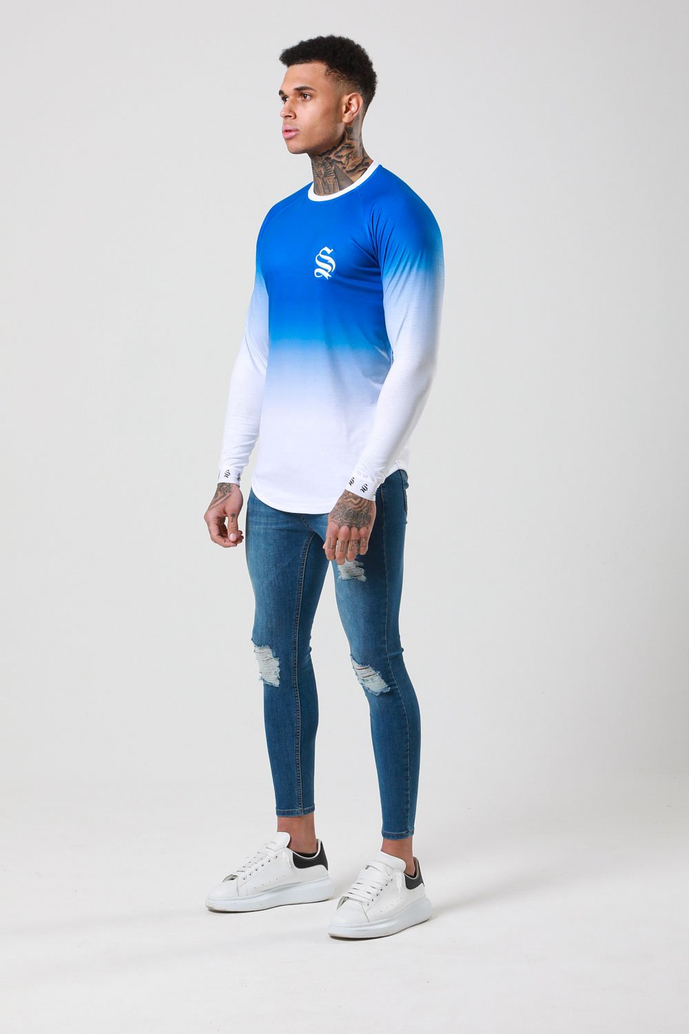 L/S DIP DYE TEE - BLUE/WHITE BY SINNERS ATTIRE - Brit Boss
