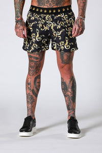 SWIM SHORTS - GOLD BAROQUE BY SINNERS ATTIRE