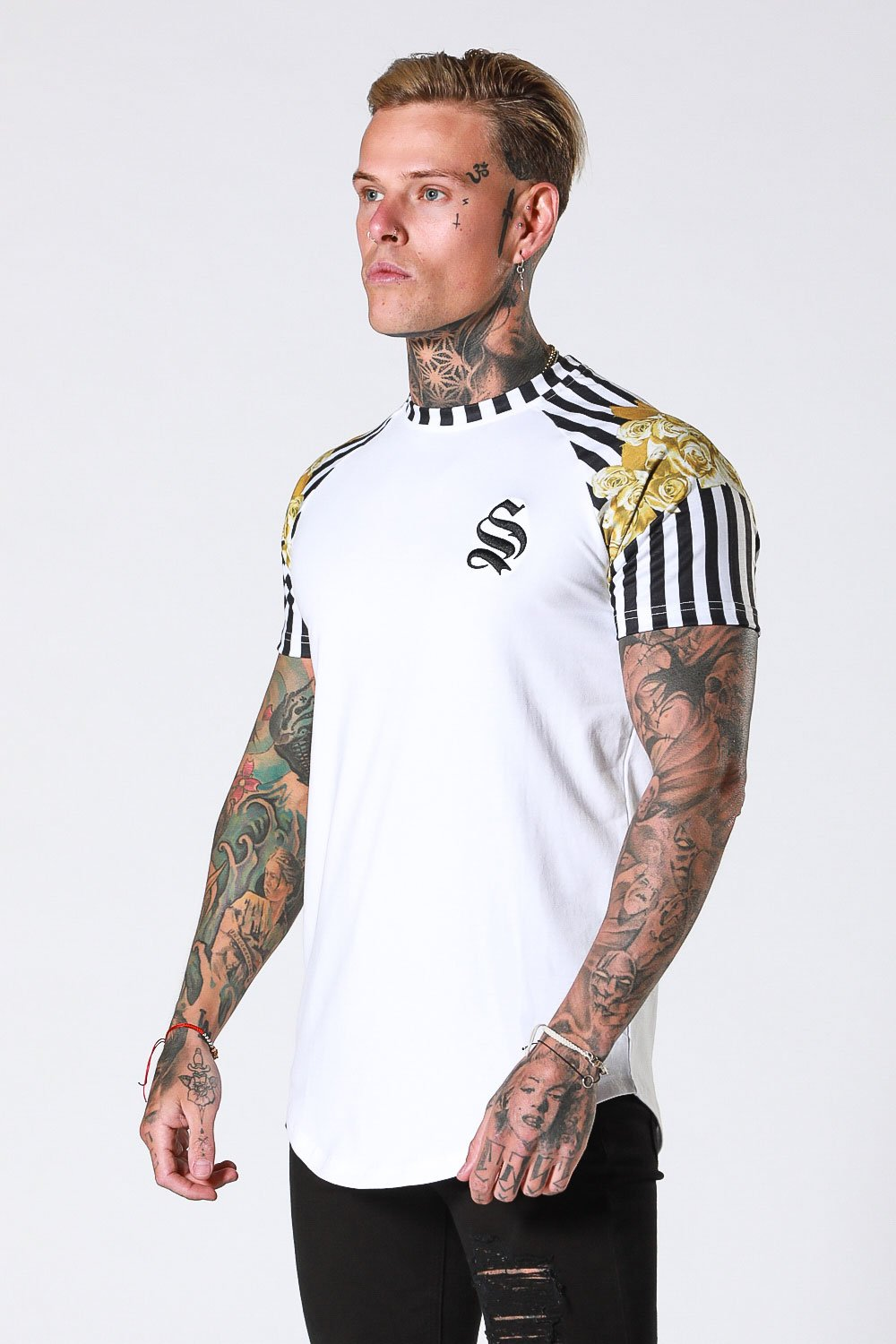 ROSE STRIPE RAGLAN TEE - WHITE BY SINNERS ATTIRE