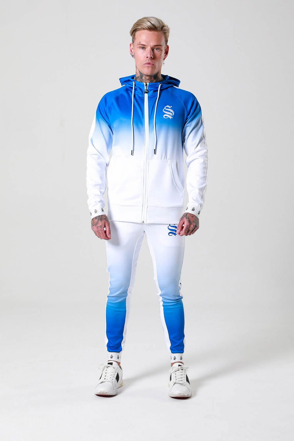 DIP DYE POLY HOODIE - BLUE/WHITE - Brit Boss