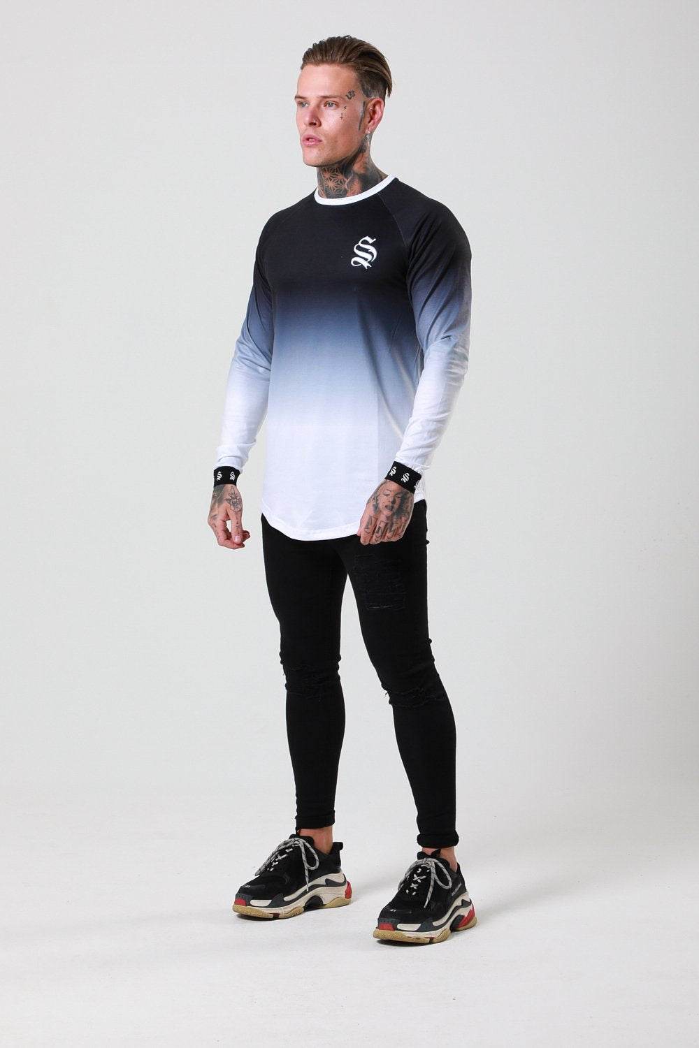 L/S DIP DYE TEE - BLACK/WHITE BY SINNERS ATTIRE - Brit Boss