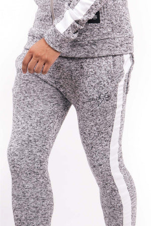 SIGNATURE LOGO GRAY JOGGERS HEATHER KNIT BY SIXTH JUNE