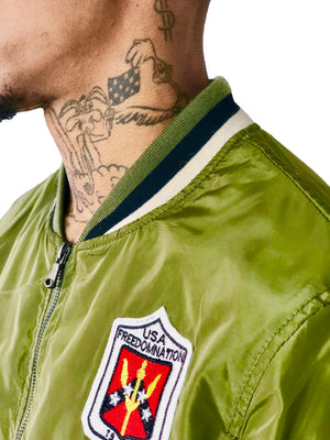 Men Bomber Jacket Patches Army Green by Brit Boss - Brit Boss
