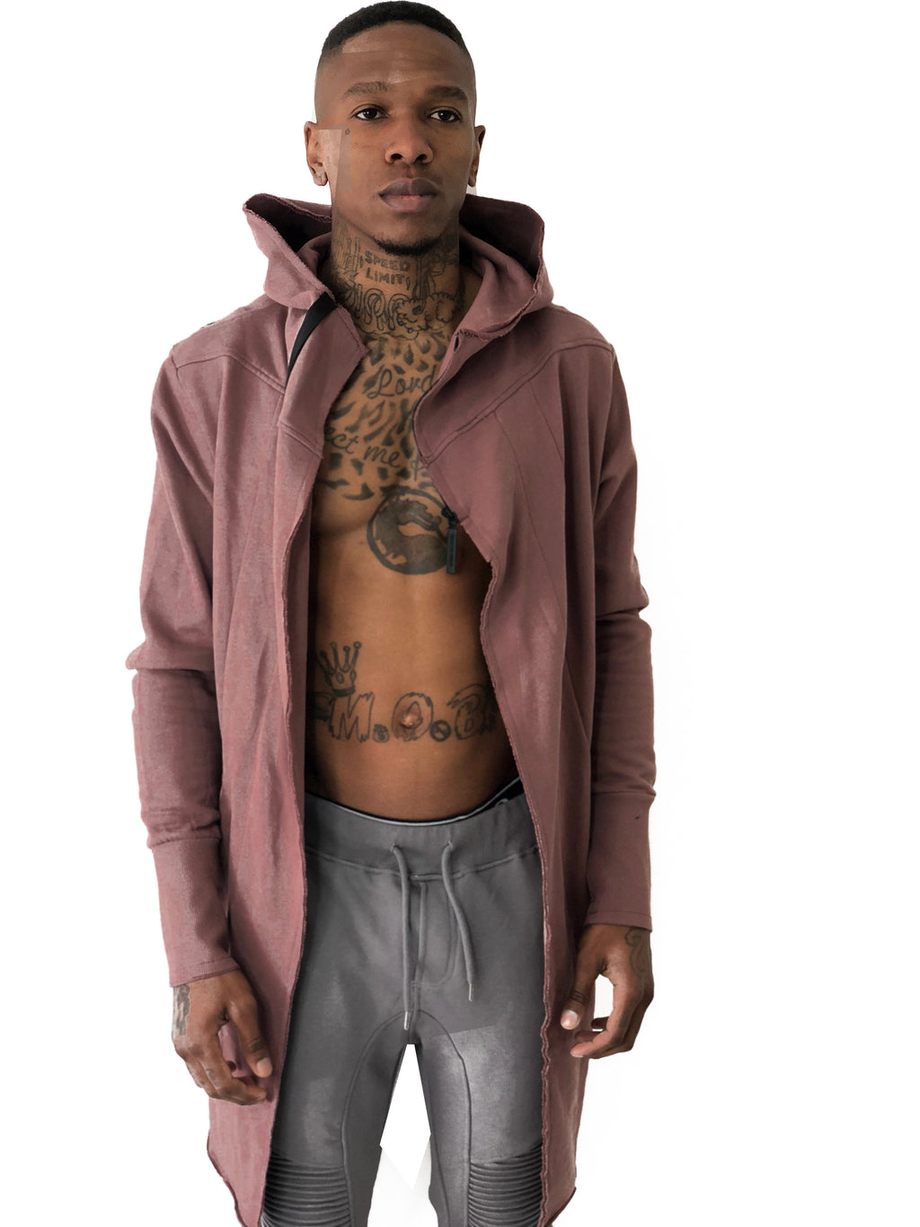 Men Jacket Long Hooded Pink by Ashes To Dust - Brit Boss