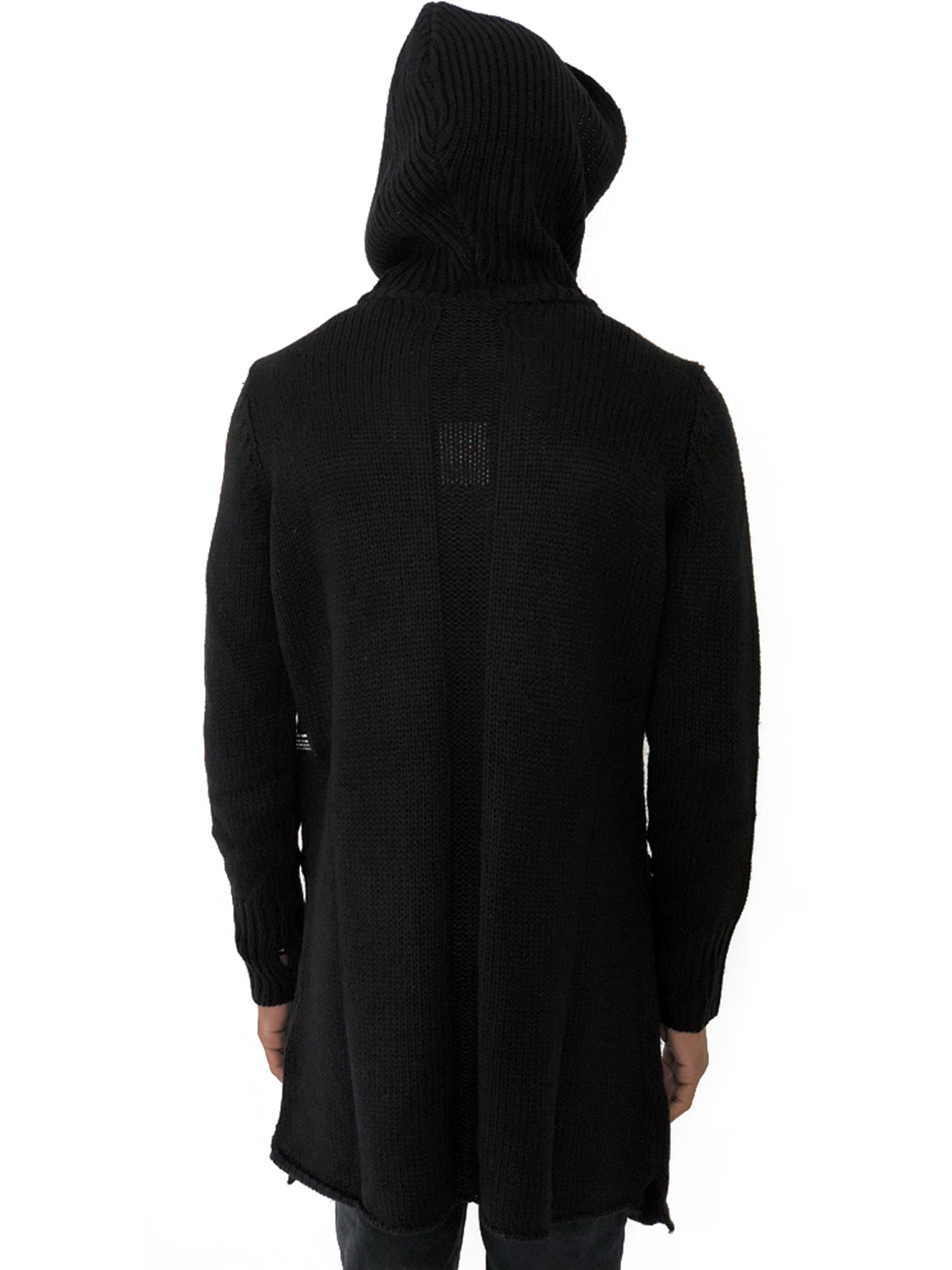 Men Sweater Long Knitted Black Hooded by Ashes To Dust - Brit Boss