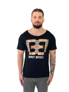 "Men T-Shirt ""Tartan Logo"" Black by Brit Boss - Brit Boss"