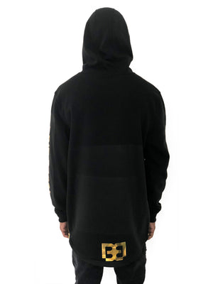 Men Black Hoodie with Gold Wings Sweater by Brit Boss - Brit Boss