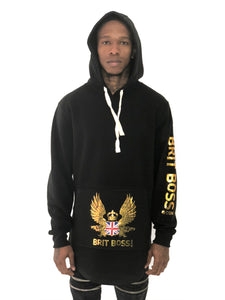 Black Hoodie with Gold Wings Sweater by Brit Boss