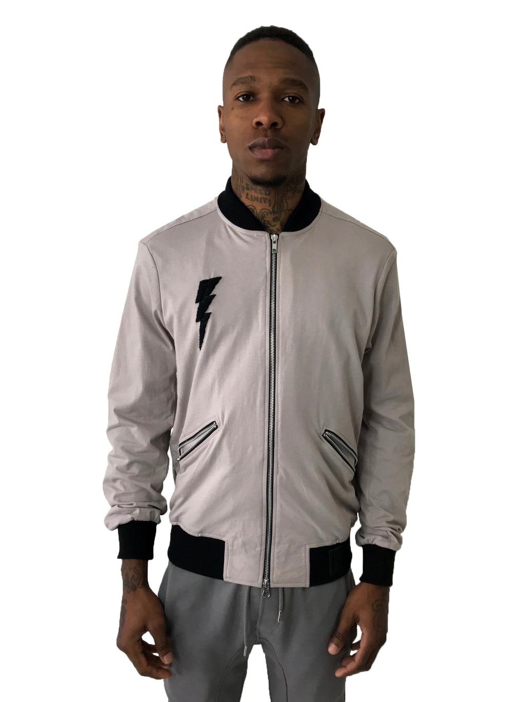 "Men Jacket Light Gray Bomber ""Bolt"" by Brit Boss - Brit Boss"