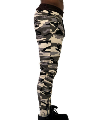 Men Pants Jogging Zipper Camo by Brit Boss - Brit Boss