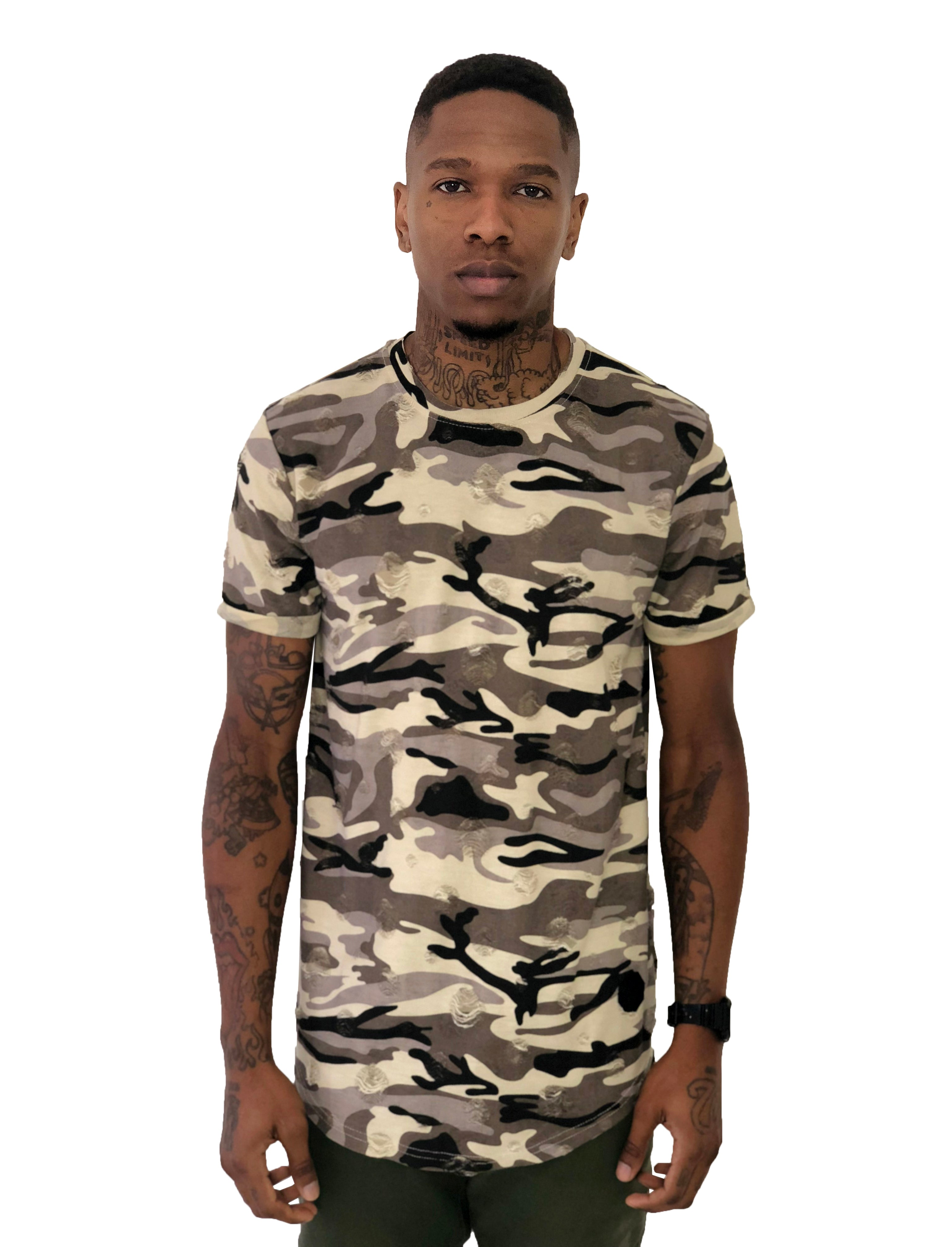 Men T-Shirt Distressed Nude Camo by Project X Paris - Brit Boss