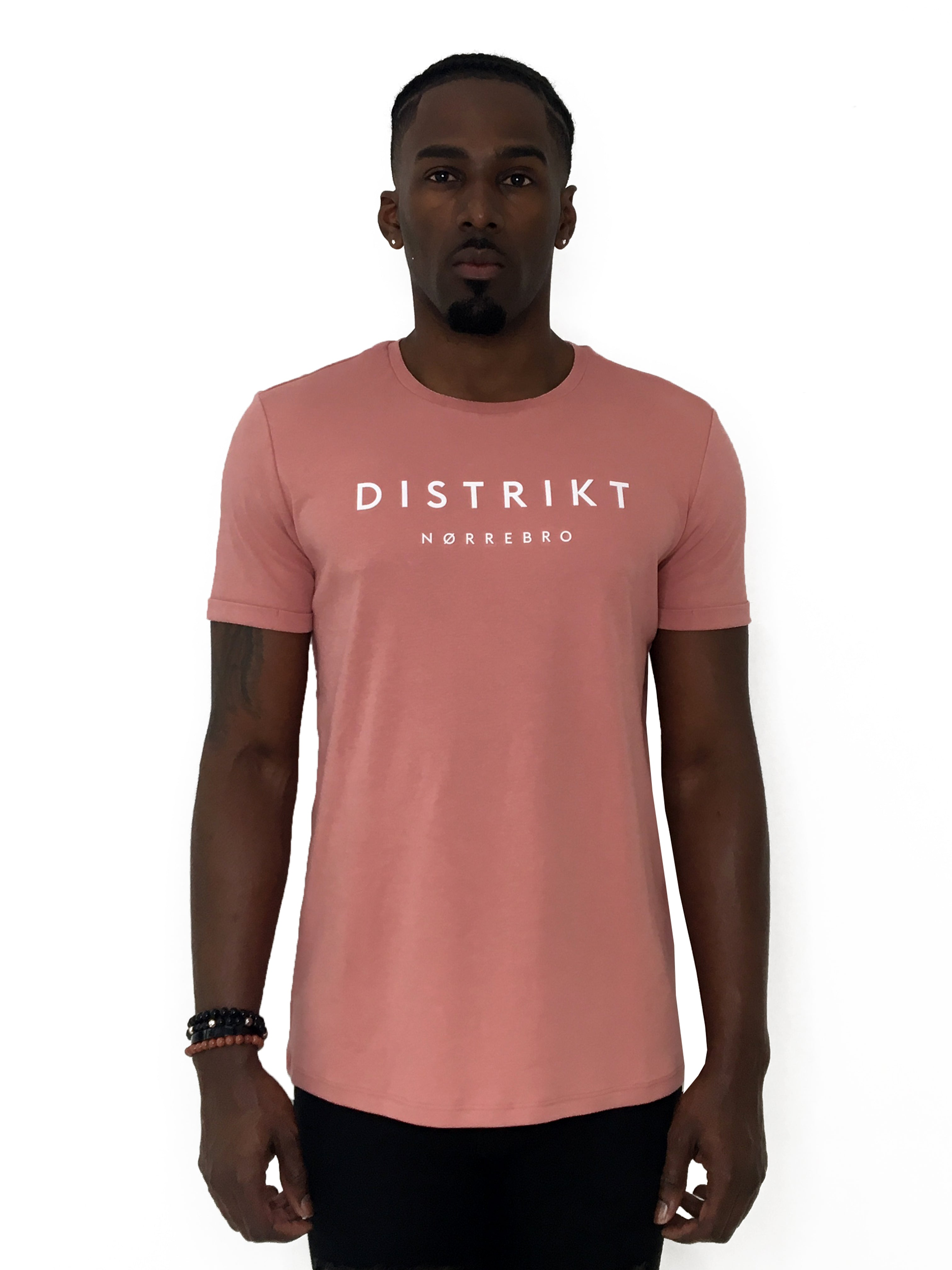 Men T-Shirt Distrikt Pink Short Sleeve - Brit Boss