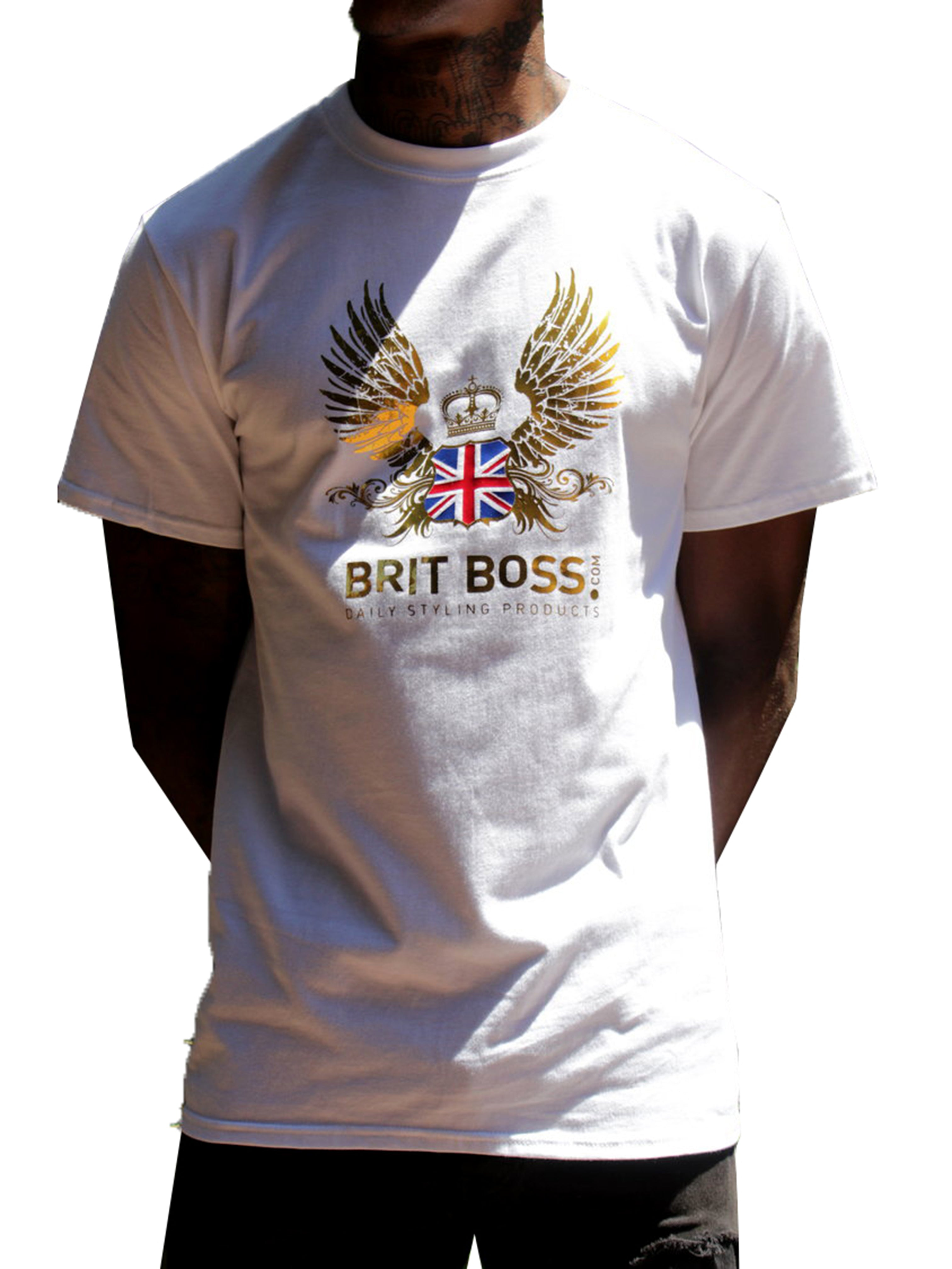 "Men T-Shirt ""Gold Wings Logo"" by Brit Boss - Brit Boss"