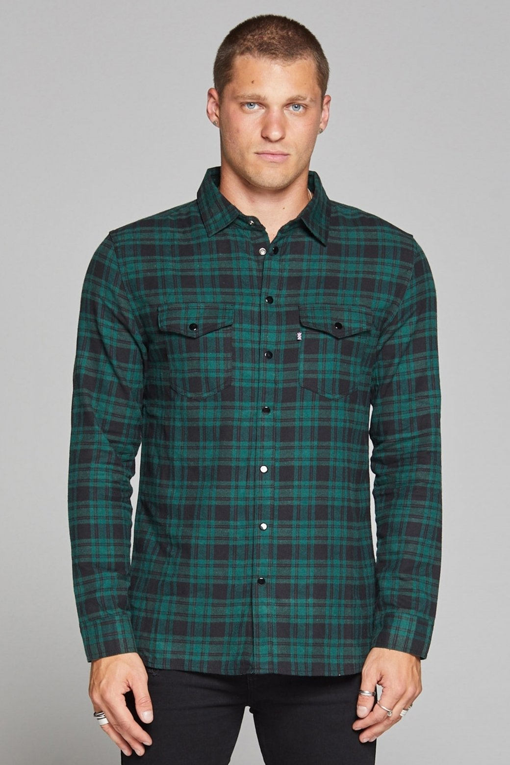 Check Flannel Green Shirt Buy Good For Nothing available in store USA Fresh Clothing DC Washington DC