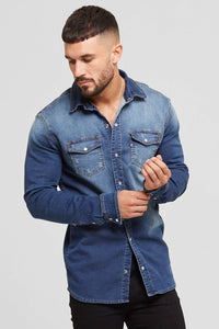Denim Washed Blue Shirt by Good For Nothing