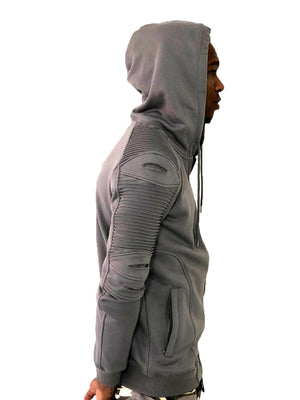 Gray Zip Up Hoodie with Ribbed Detail by Brit Boss 4