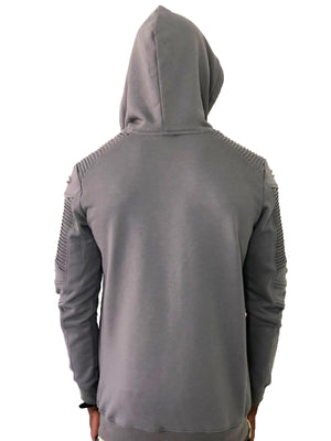 Gray Zip Up Hoodie with Ribbed Detail by Brit Boss 3