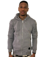 Gray Zip Up Hoodie with Ribbed Detail by Brit Boss
