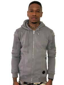 Men Gray Zip Up Hoodie with Ribbed Detail by Brit Boss - Brit Boss