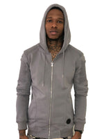 Gray Zip Up Hoodie with Ribbed Detail by Brit Boss 2