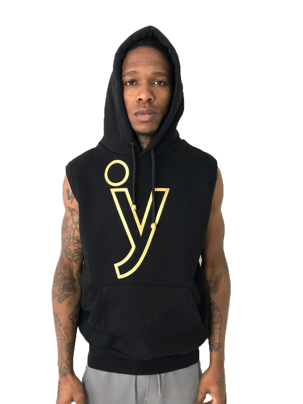 BLACK SLEEVELESS HOODIE BY IACOBBUCYOUNES ITALY