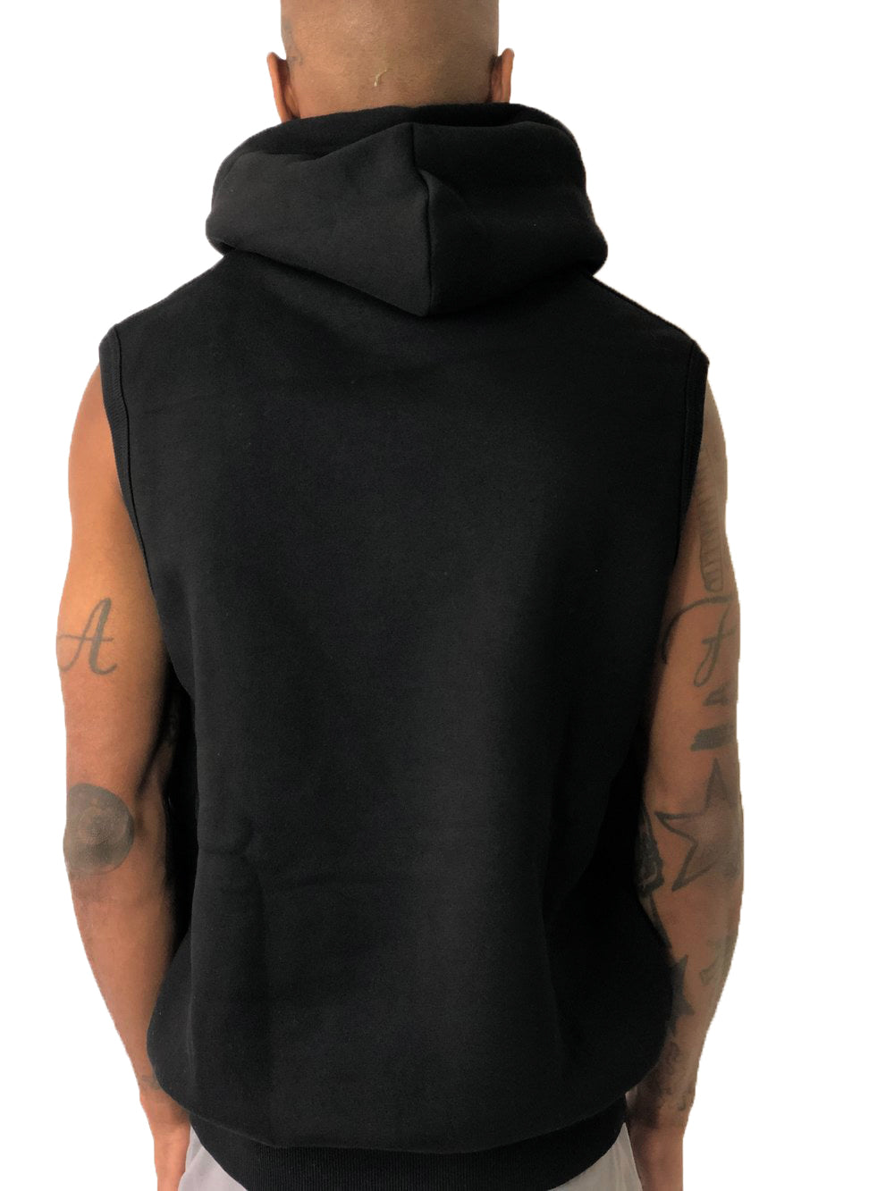 Black Sleeveless Hoodie by iacobuccyounes Italy - Brit Boss