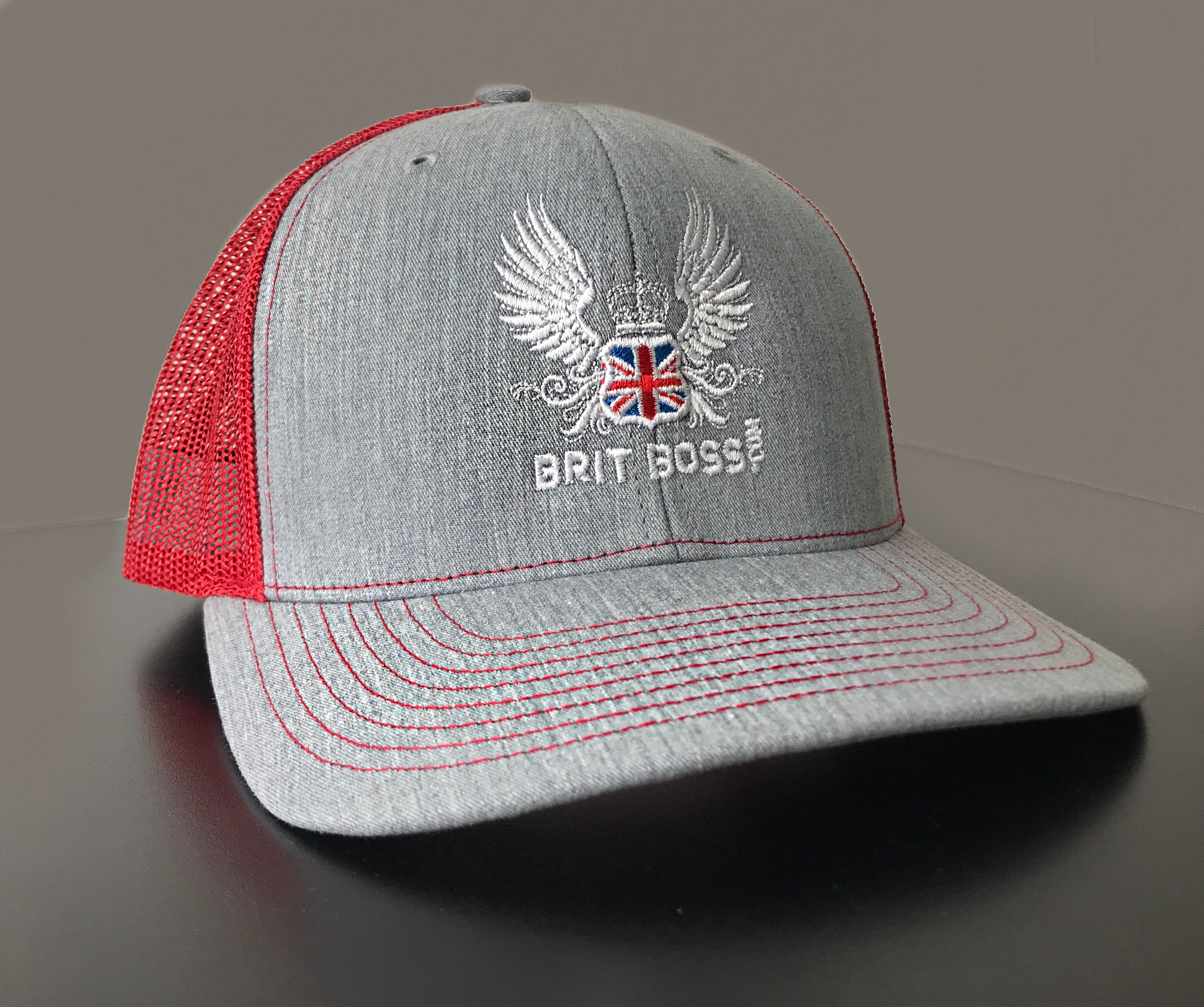 Brit Boss Red and Grey Baseball Cap - Brit Boss