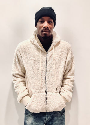 Fluffy Borg Sherpa Zip Up Hoodie