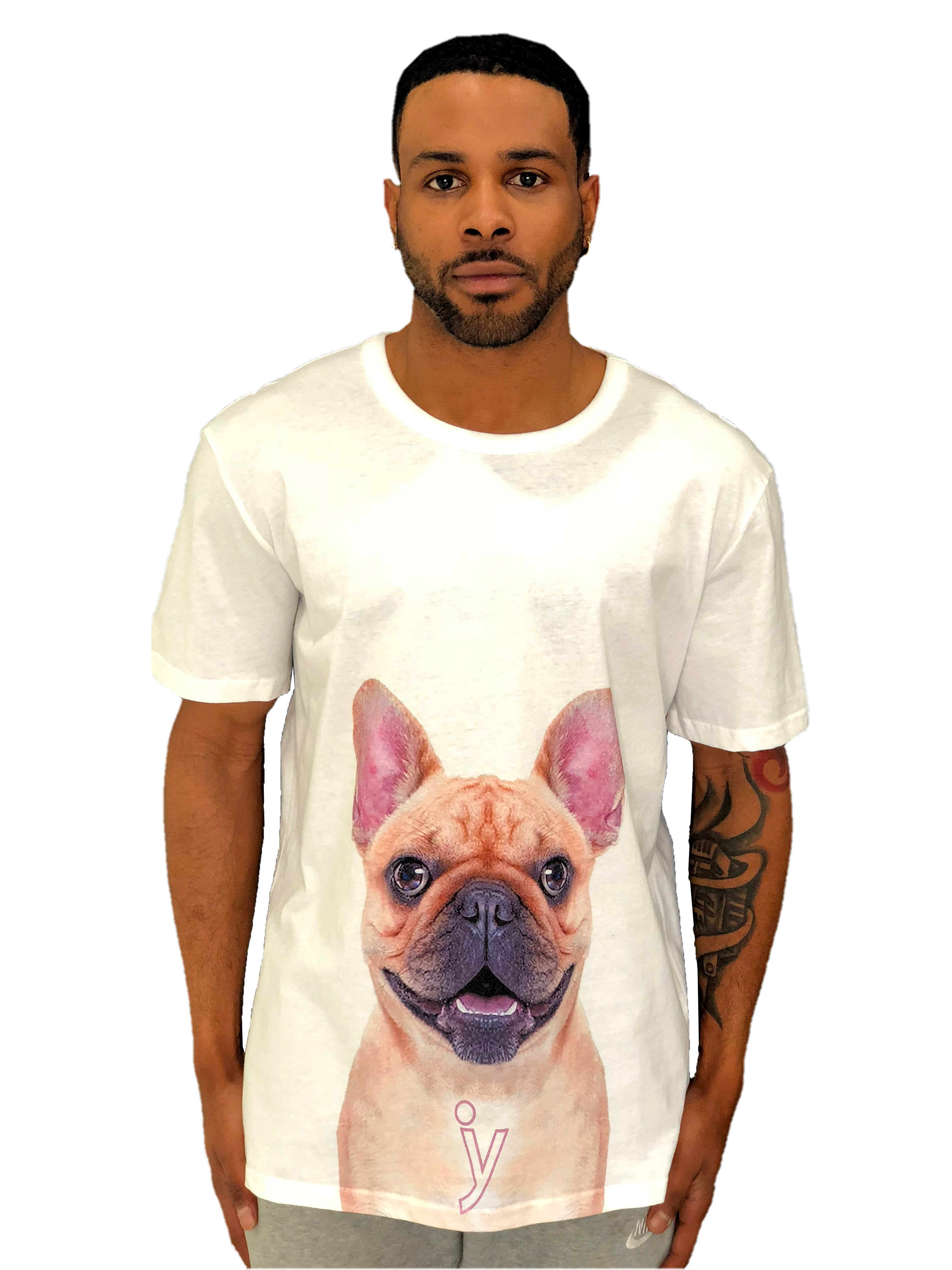 "Men T-Shirt ""French Bulldog"" White by iacobucyounes Italy - Brit Boss"