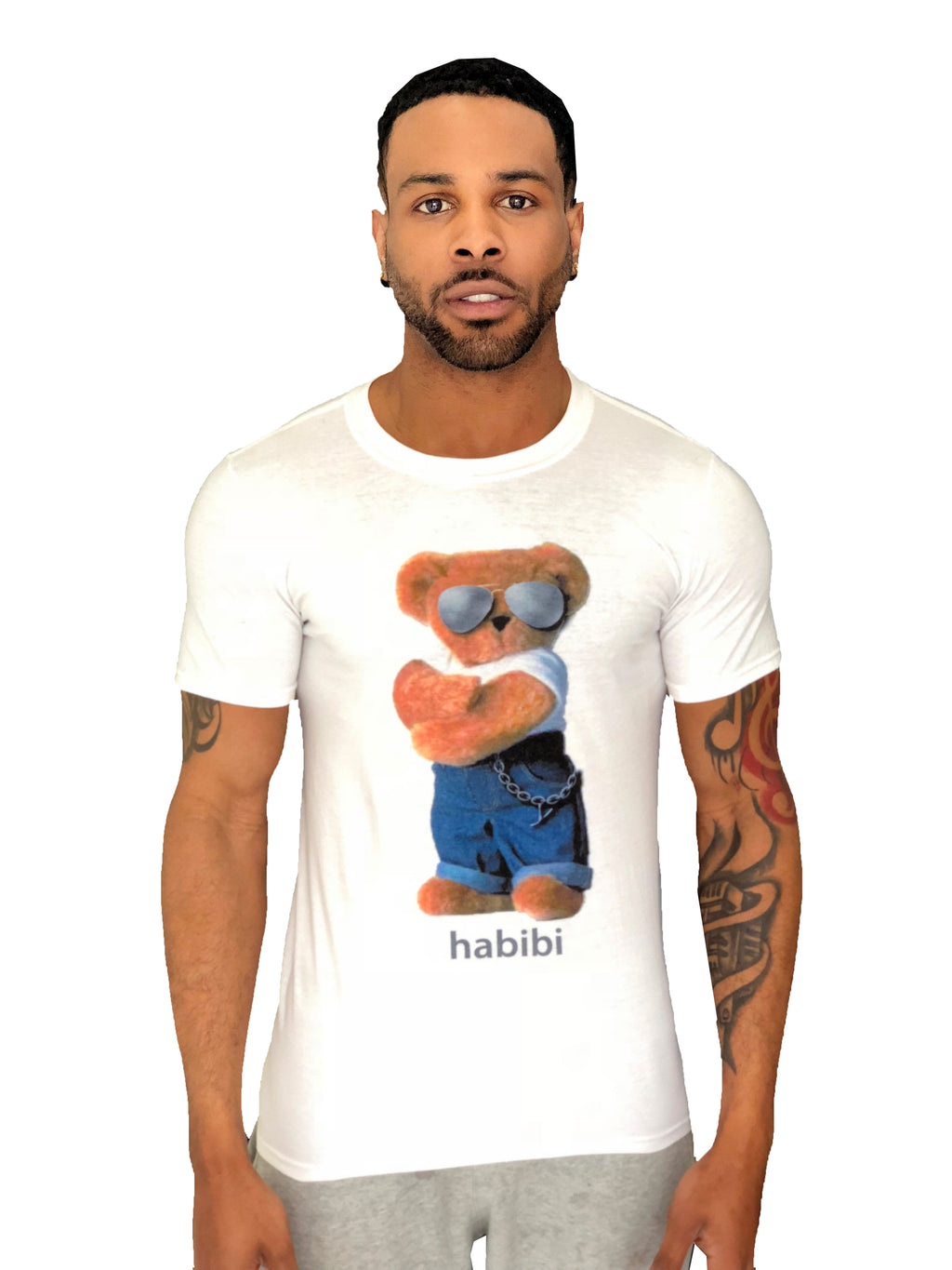 "Men T-Shirt ""Habibi Bear"" White by iacobucyounes Italy - Brit Boss"