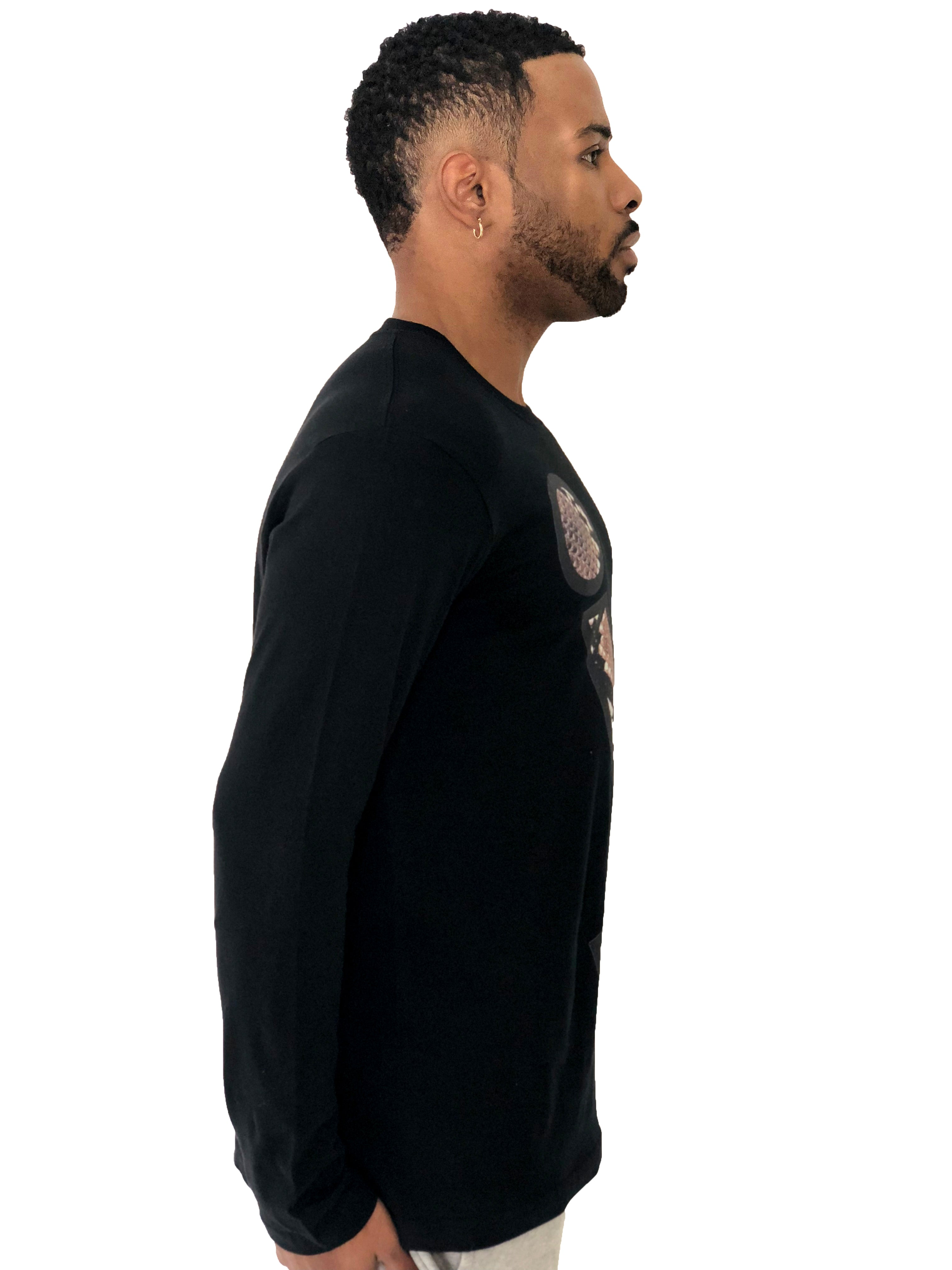 "Men T-Shirt ""Snake Texture Logo"" Long Sleeved Black by iacobuccyounes Italy - Brit Boss"