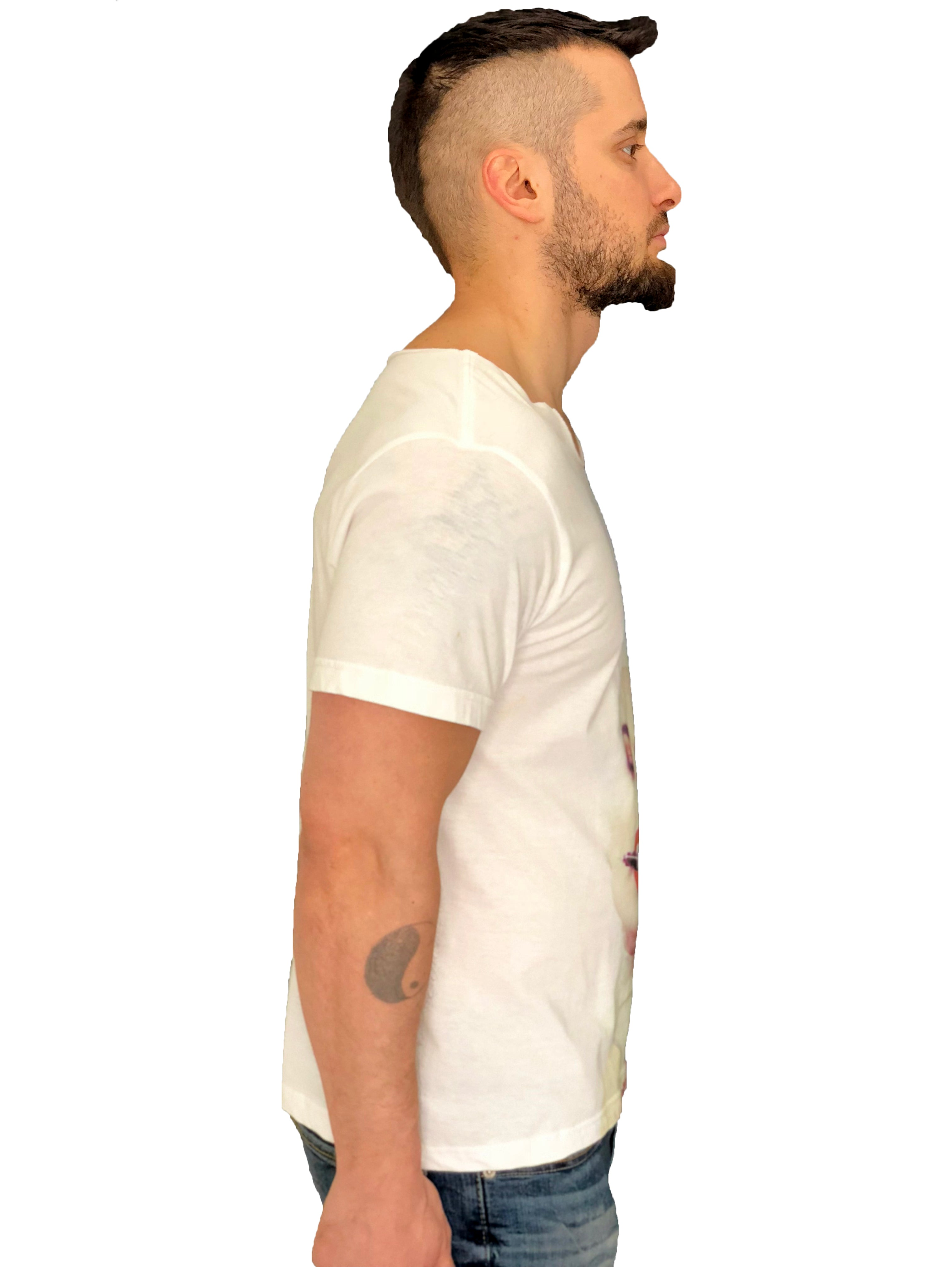 "Men T-Shirt ""La Demence"" Face White by iacobuccyounes Italy - Brit Boss"
