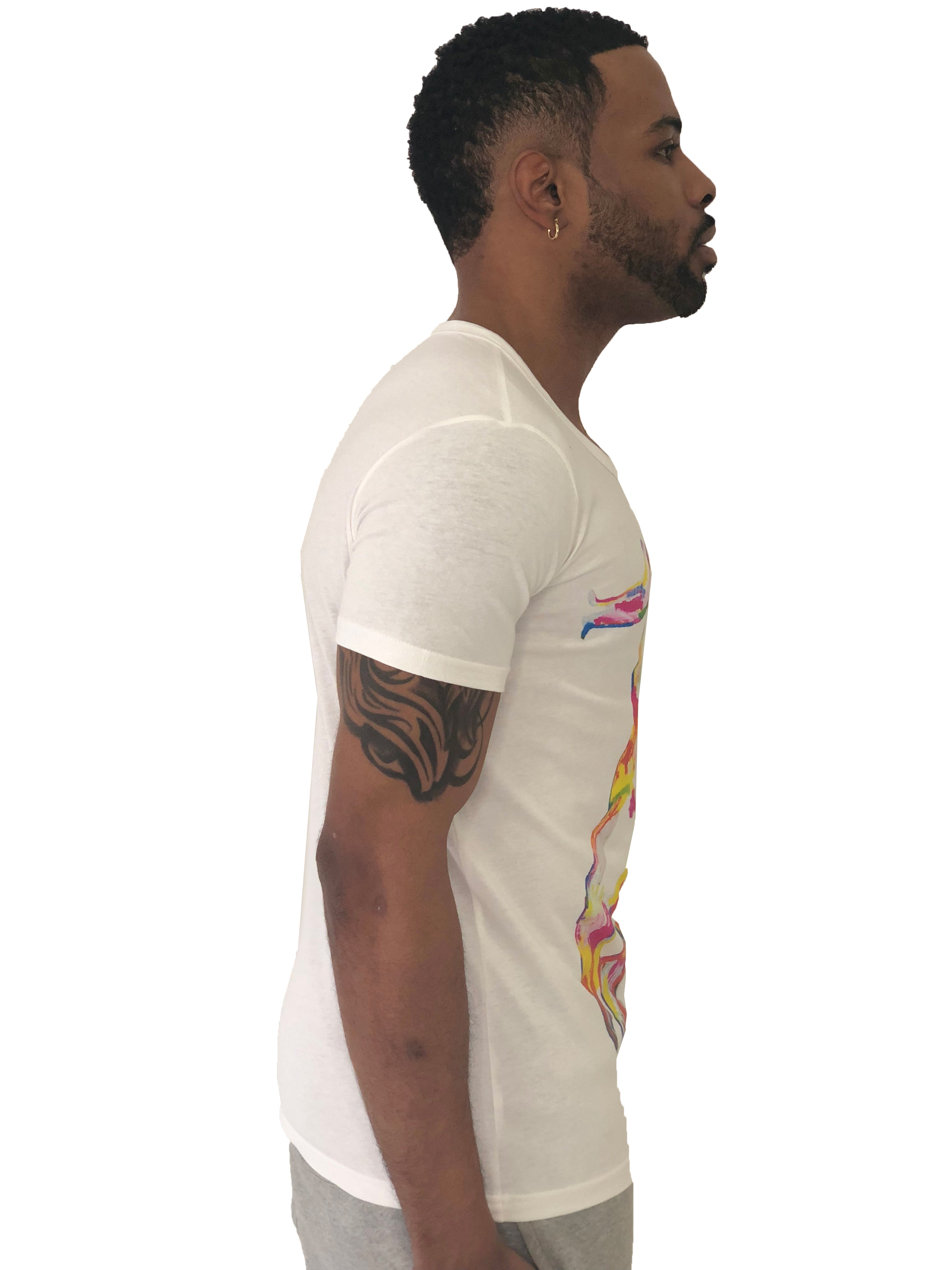 "Men T-Shirt ""G"" Multi color graphics White by iacobuccyounes Italy - Brit Boss"