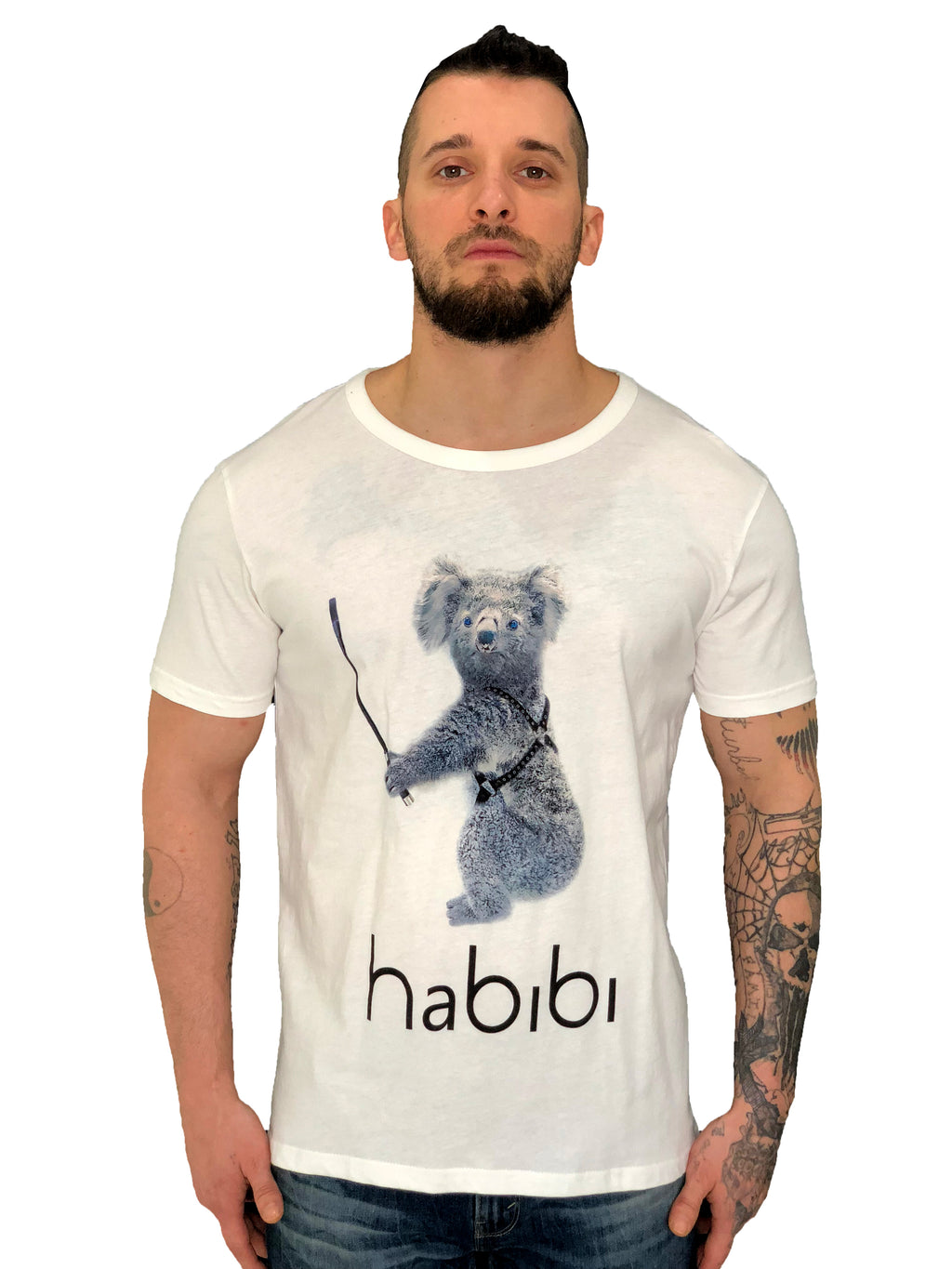 "Men T-Shirt ""Habibi Koala"" White by iacobucyounes Italy - Brit Boss"