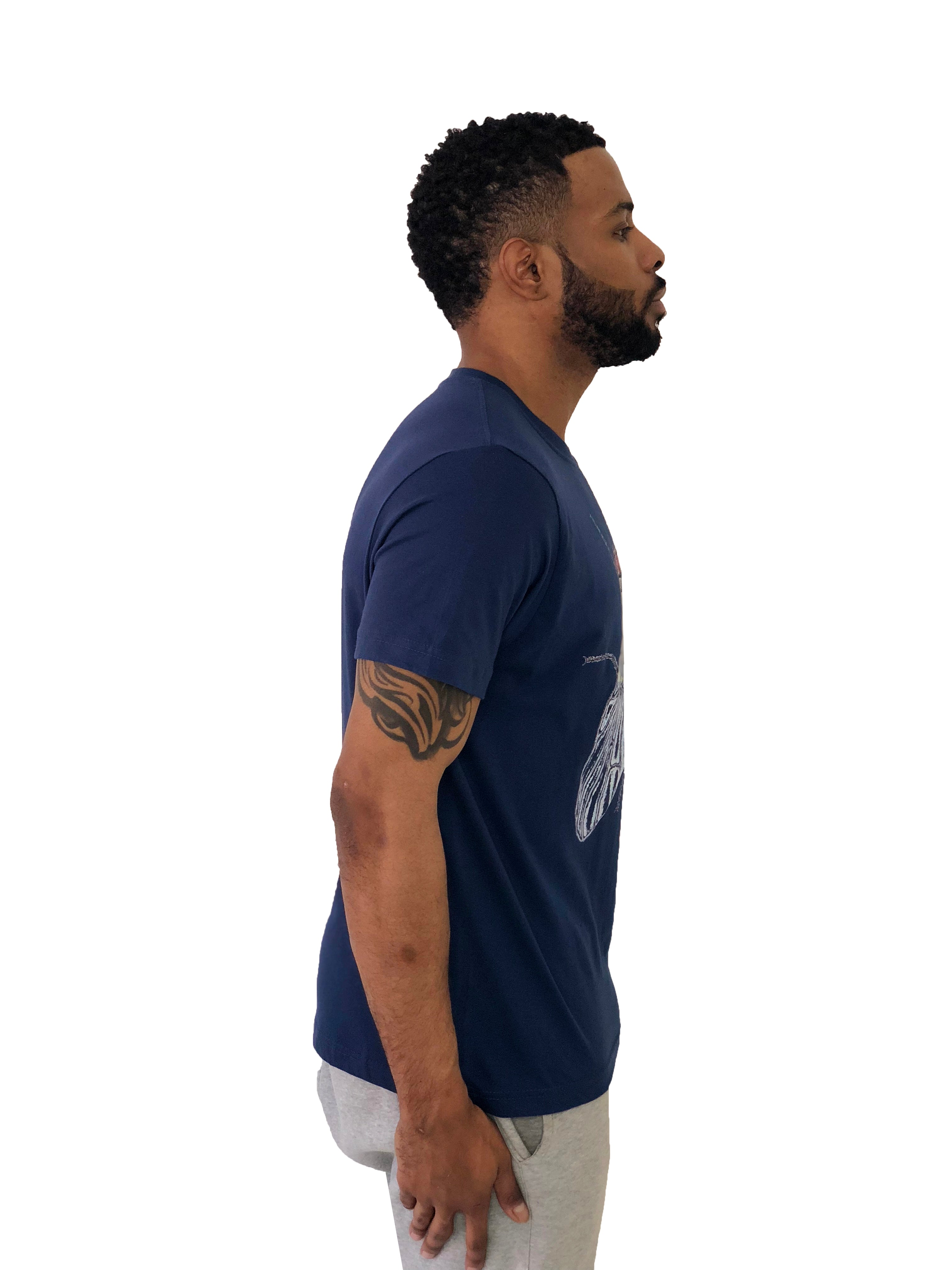 "Men T-Shirt ""Fly"" Short Sleeved Navy Blue by iacobucyounes Italy - Brit Boss"