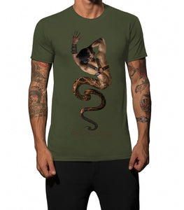 "Men T-Shirt ""Provocateur Inspired Leather Bondage Harness "" Green by iacobuccyounes Italy - Brit Boss"