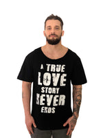 Men T-Shirt A True Love Story Black Cotton by iacobuccyones Italy - Brit Boss