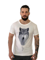 "Men T-Shirt ""Wolf"" White by iacobuccyounes Italy - Brit Boss"