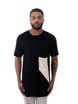 Men T-Shirt Asymmetric silk pocket Black by KIUB - Brit Boss