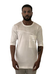 Men Short Sleeve Cotton White Tee w/Pocket Label 19 - Brit Boss