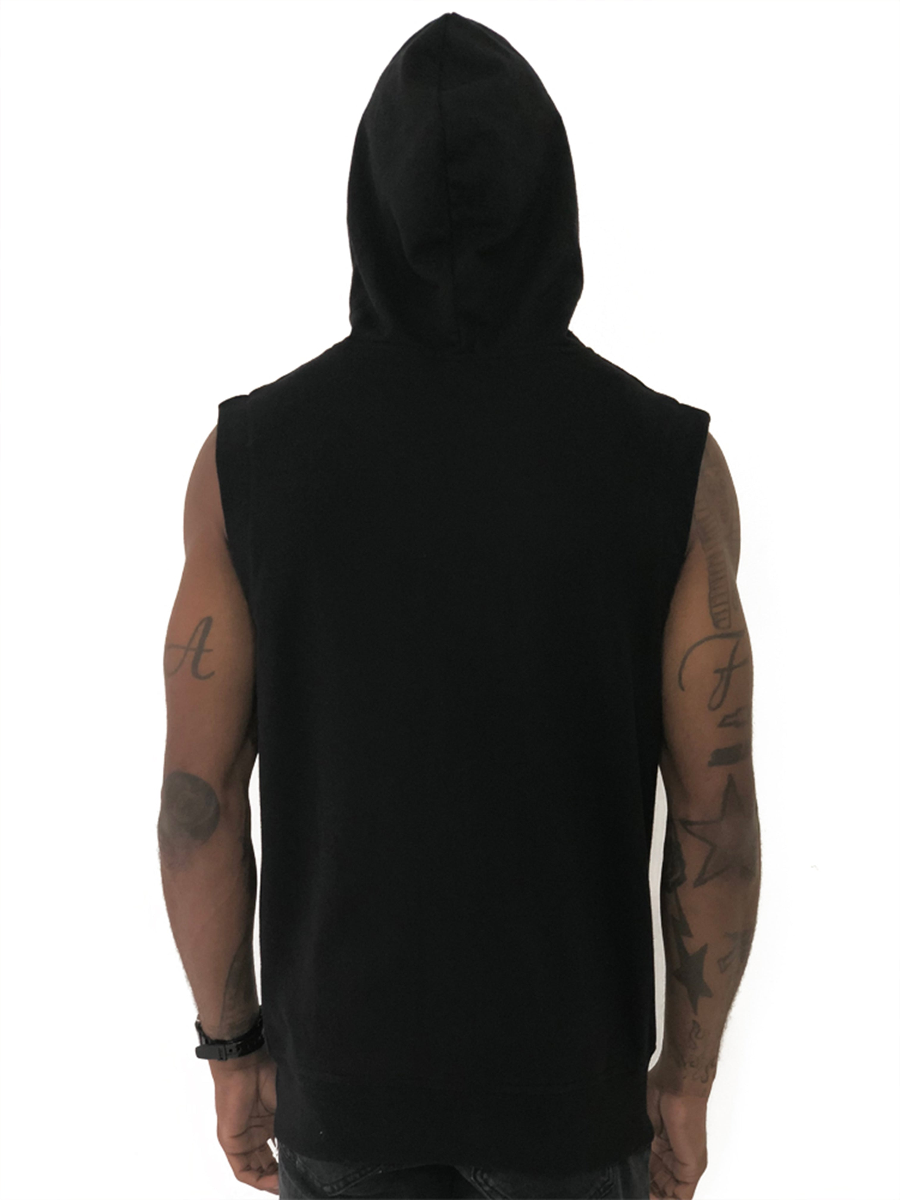 Black Sleeveless Vest with Hoodie by Limited Manchester 3
