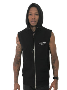 Black Sleeveless Vest with Hoodie by Limited Manchester