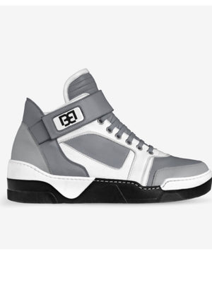 White  and Gray Retro Style  Leather  Mid Tops  By Brit Boss - Brit Boss