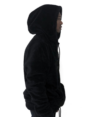Men Jacket Pull Over Hooded Oversized Soft Jet Black by Brit Boss - Brit Boss
